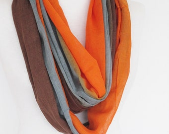 Multicolor Cotton Scarf, Long Scarf, Orange / Gray / Brown, Gift, Unisex Scarf