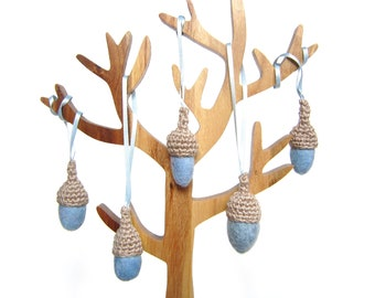 Christmas Forest felt blue Acorns with crochet caps. Light blue ornaments.
