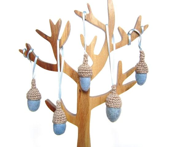 Forest felt blue Acorns with crochet caps. Light blue ornaments.