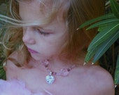 Little Girl Bead Necklace, Glass Beads, Pink, Swarovski Crystal Heart, Little Dixie Chicks