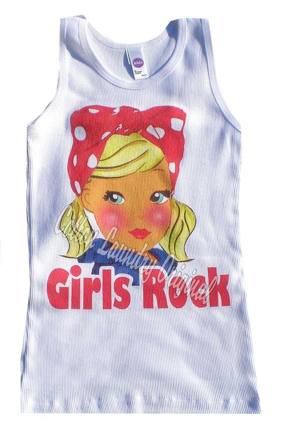 Girls Rock Cotton Laundry tank short sleeve long white sleeve one piece infant tshirt Girls Rock.