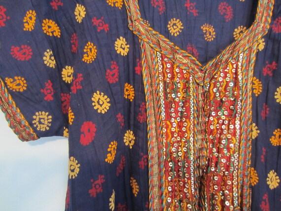Navy Blue Made in India Vintage Festival Dress Midi 60s 70s Hippie Handmade S M
