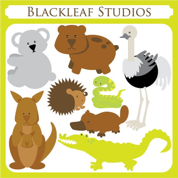 Australian Animals Clipart Set Digital Download Images