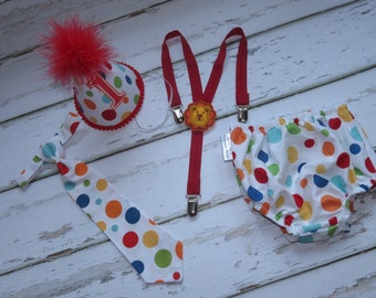 Boys Birthday Outfit Cake Smash Birthday Outfit including a necktie suspenders diaper cover & party hat in Primary Polka Dot