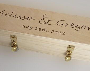 Love Letter Ceremony -- Wedding Wine Box -- double gold padlocks and keys