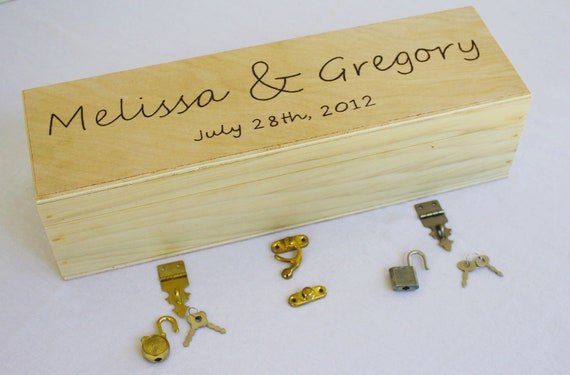 Personalized Wedding Wine Box Handmade in the USA Love Letter Ceremony, you choose the hardware