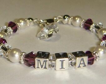 Baby/Toddler Name Bracelet - Swarovski Pearls & Crystals - Sterling Silver - Personalized - Swarovski Crystal Heart Charm