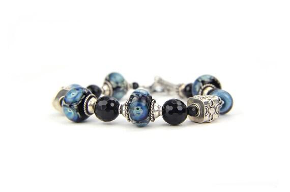 Bracelet Olympia Blue Black Lampwork Onyx Sterling Silver Gemstone:  Tide Pools