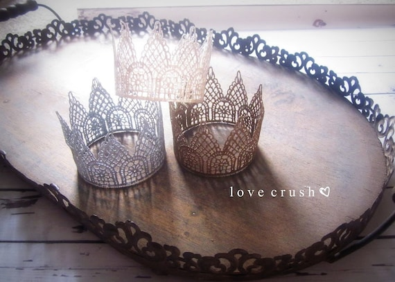 the harlow... mini vintage gold lace crown HEADBAND option newborn photography prop or keepsake