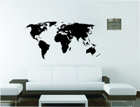 EXTRA LARGE World Map Wall Sticker, Vinyl Decal, Wall Tattoo