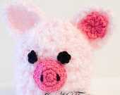 Crochet Baby Piglet Beanie 0-3 and 3-6 Months Photography