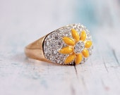 Yellow Sunflower flower Enamel CZ Sterling Silver Cocktail Ring Size 9
