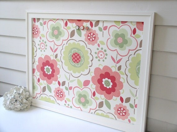 Large Magnetic Board Bulletin Board Coral Pink and Green - Handmade Wood Frame 20.5 x 26.5 Memo Message Board Decorative Designer Fabric