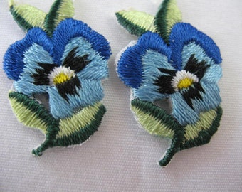 Pansy Flower Iron On Applique Patch - 6 - Blue
