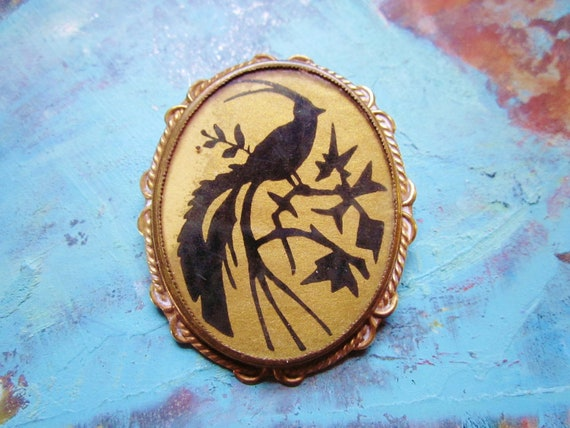 Vintage Art Deco Brooch Large Brass Black Peacock Bird Lithograph Print 1930s Jewelry