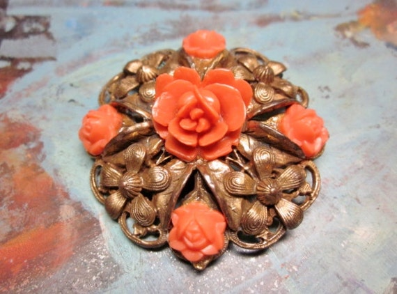 Vintage Brass Brooch Carved Coral Celluloid Orange Flowers Roses 1940s Jewelry