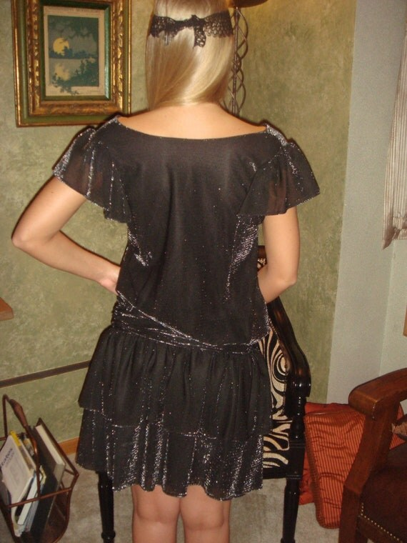 Darling Vintage Flapper Girl Black Metallic Flapper Girl  Dress/ THE ARTIST Silent Movie dress/ Cocktail Evening Dress/Couture Vogue