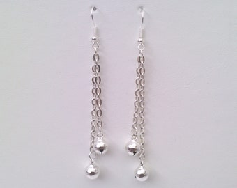 Double JINGLE BELLS Silver Plated Chain Drop Ear Wire (or clip ons) Dangle Earrings - bf