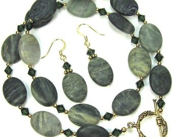 Green Necklace Combo Seaweed Quartz Gemstone Turmaline Swarovski Crystal Necklace and Earrings