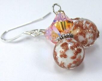 Peach Aventurine (Avventurina) Speckled Venetian Glass and Peach Swarovski Crystal Earrings