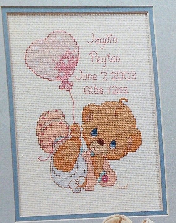 Precious Moments LITTLE LOVE Baby Birth Announcement Counted – Baby Birth Announcement Cross Stitch Patterns