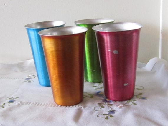 Set of 4 Vintage Aluminum Drinking Tumblers