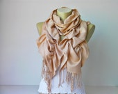Ruffle scarf  ,Pashmina fabric scarf in champagne -CHOOSE YOUR  COLOR