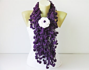 Mulberry scarf /scarf /Pompom scarf /cocoon scarf with removable  crochet brooch