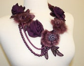 Chiffon Rose Fur Flower Collar