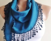 Pashmina scarf with lace christmas gift for her scarf stylish blue