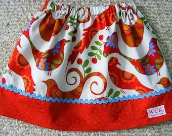 Michael Miller Pretty Bird  Skirt in Spcie    (12 mos, 18 mos, 24 mos,   2T, 3T, 4T, 5, 6, 7)