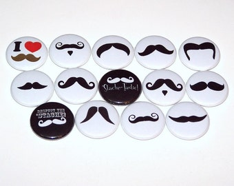 """Stache Mustache Mix Set of 14 Buttons 1"""" or 1.5"""" or 2.25"""" Pin Back Buttons or 1"""" Magnets Moustache Party Favors Black White"""