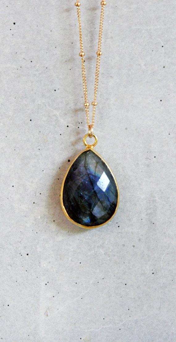 Blue Fire Labradorite 14K Gold Filled Necklace