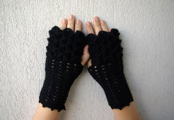 Fingerless gloves Black Arm warmers Hand knitted mittens Wool fingerless Lace gloves Womens fingerless Hand warmers Knit gloves Winter glove