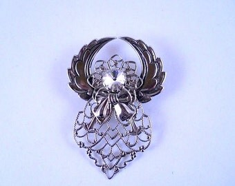 Jane Angel Brooch with Filigree on wings and a Rhinestone for face