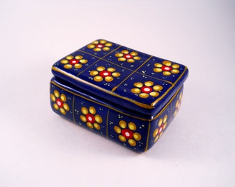 Dark Blue Trinket Box With Handpainted Flowers
