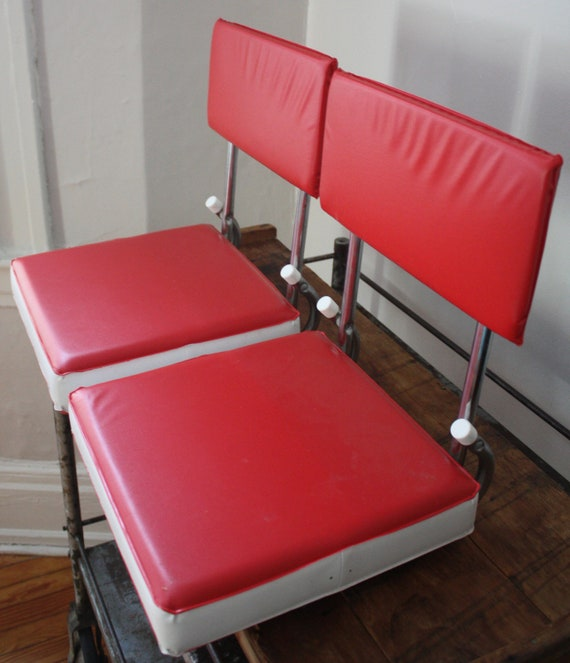 Pair of Red and White Stadium Seats or Portable Chairs