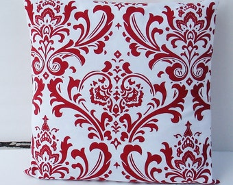 Red  Damask Decorative Pillow Cover, couch pillow, throw pillow, red pillow case,  18x18 Accent Pillow