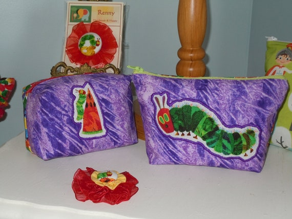 Snack Bag Set - Pencil Pouch Set - Made from Very Hungry Caterpillar Fabric with Applique - Zipper Closure -