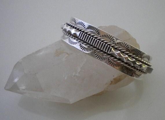 Vintage 70s Heavy Sterling Native American Cuff Bracelet Signed Ben S