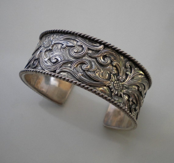 Reserved Vintage Sterling Cuff Bracelet Mexican Western 1980s
