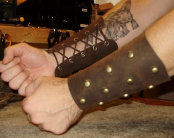 Barbarian leather half bracer with studs  and leather lace, viking (pair)