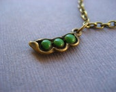 Antique Bronze Peas in a Pod Necklace. Three Peas in a Pod. Mommy Mom Mother Necklace. Best Friend Necklace. BFFs.