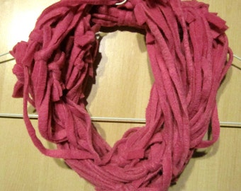 Pink Infinity Scarf / Necklace - Knotted Fleece