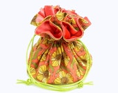 Drawstring Jewelry Pouch -  Coral, yellow and green floral travel bag