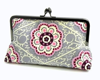 Clutch in a pink, grey and cream floral fabric - Evening or Wedding bag - Gunmetal teardrop frame