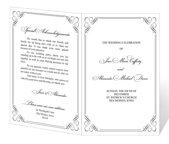 Free Printable Wedding Program Templates: Wedding Program Template Printable INSTANT DOWNLOAD