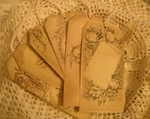 Distressed French Paris Hang Tags Labels Gift Tags with Cream Embroidery Thread Set of 6