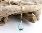 BLACK FRIDAY ETSY - Aqua Blue Stone Drop Necklace / Large Sparkly Blue Quartz Gemstone on Long Gold Filled Chain