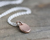 Rose Gold Pebble Necklace / 24K Pink Gold Vermeil Pendant on Sterling Silver Chain / Rose Gold Jewelry by burnish